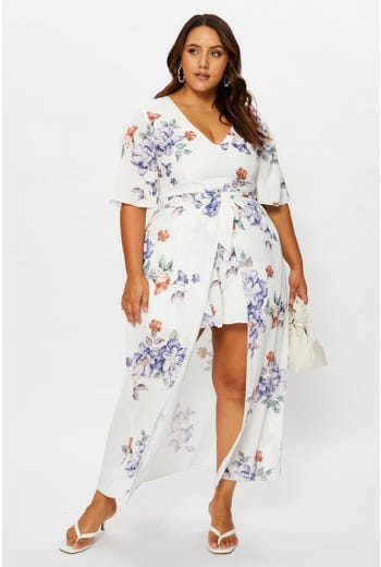 Plus Floral Print Hi Lo Playsuit