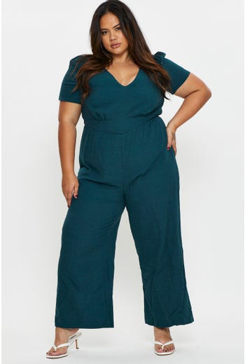 Plus Cut Out Back Short Sleeve Jumpsuit