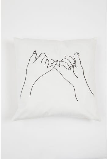 Flower Girl Line Drawing Print Cushion Cover