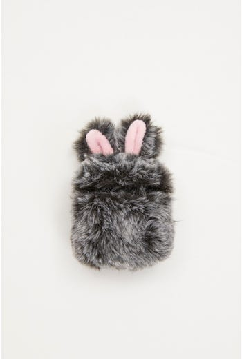 Plus Faux Fur Bunny Air Pod Case With Ears