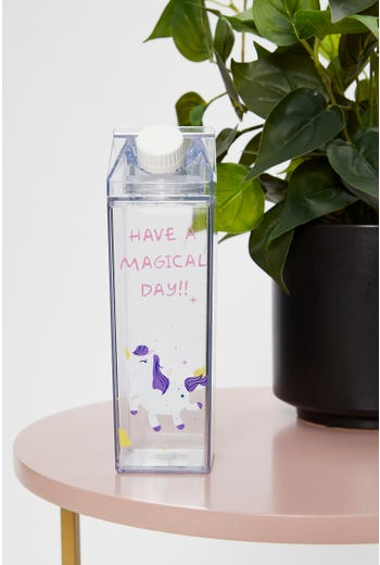 Magic Unicorn Slogan Carton Clear Drinks Bottle