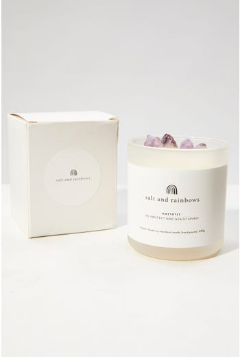 Salt And Rainbows Amethyst Crystal Scented Candle