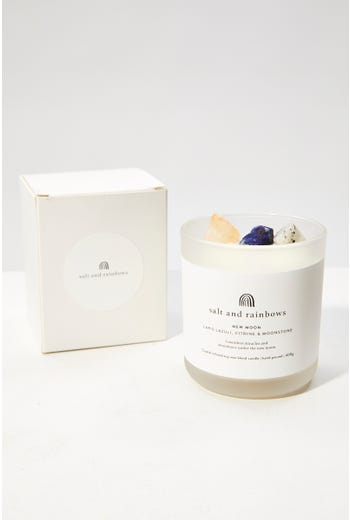 Salt And Rainbows New Moon Crystal Scented Candle