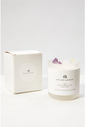 Salt And Rainbows Rest Crystal Scented Candle