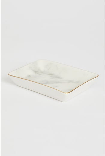 Marble Jewellery Dish With Gold Edging