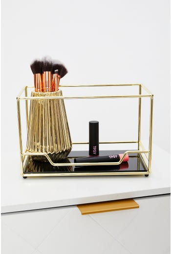 Gold Frame Perfume And Beauty Storage Stand
