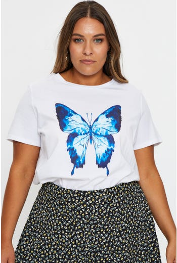 Plus Short Sleeve Jersey Graphic Print Butterfly T