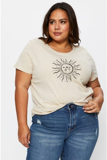 Plus Short Sleeve Sun and Moon  T Shirt