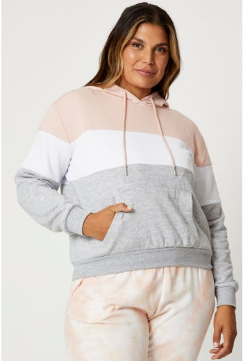 Plus Colorblock Hoodie Sweatshirt
