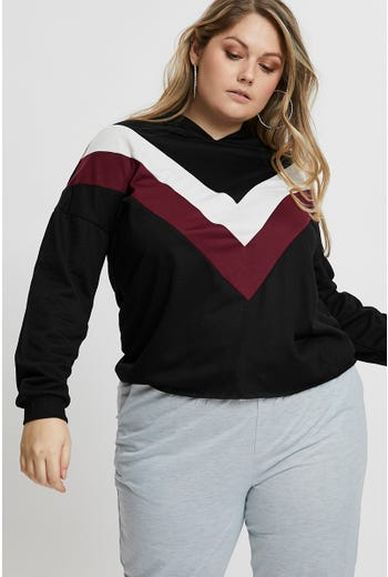 Plus Chevron Colourblock Sweater