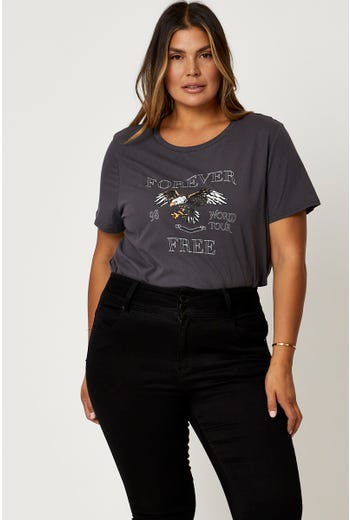 Plus 'FOREVER FREE EAGLE' Graphic T-Shirt
