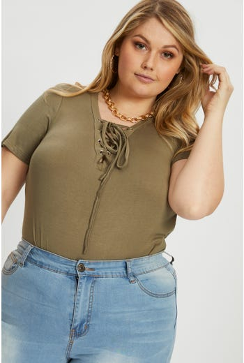 Plus Lace Up Front T Shirt