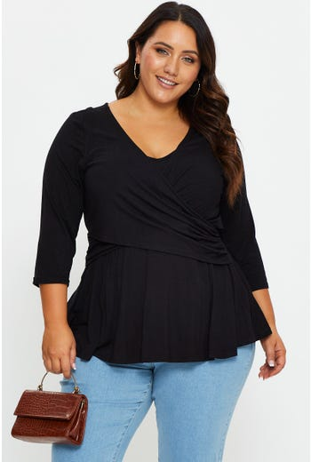 Plus 3/4  Sleeve Wrap Front Top
