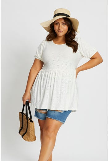 Plus Short Sleeve Jersey Eyelet Peplum Hem Top