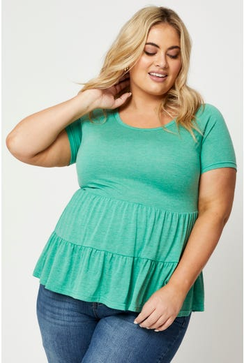Plus Short Sleeve Jersey Tiered  Babydoll Top