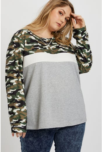 Plus Camo Colour Block Top
