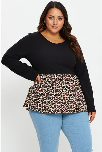 Plus Woven Mix Long Sleeve Top