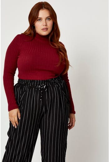 Plus Textured Jersey Funnel Neck Top
