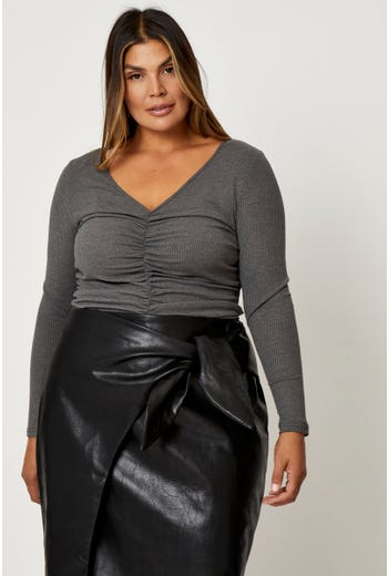 Plus Shirred Front Long Sleeve Rib Top