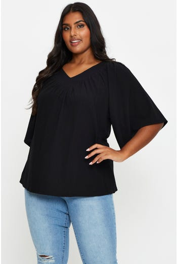 Plus Shirred Shell Top