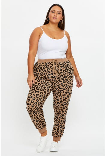 Plus Animal Print Track Pants