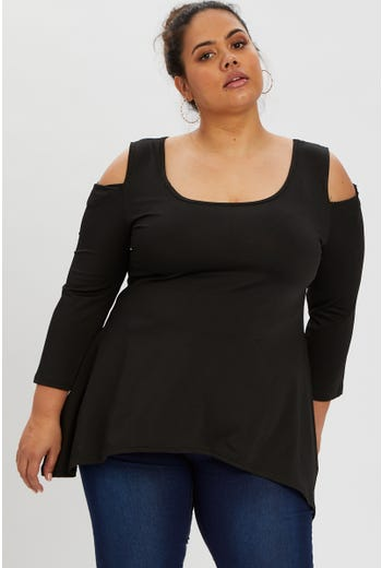 Plus Cold Shoulder Longline Top