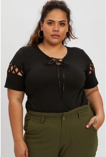 Plus Lace Up Detail Top