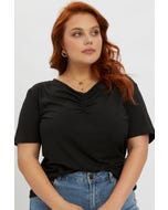 Plus Ruched Front Basic Top