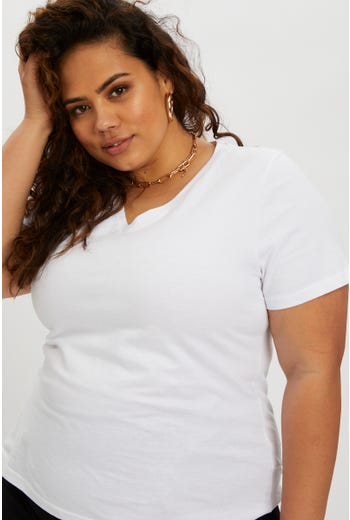 Plus V Neck Basic T Shirt