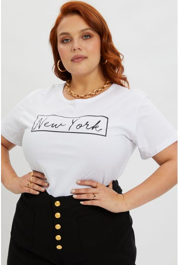 Plus New York Crew Neck T Shirt