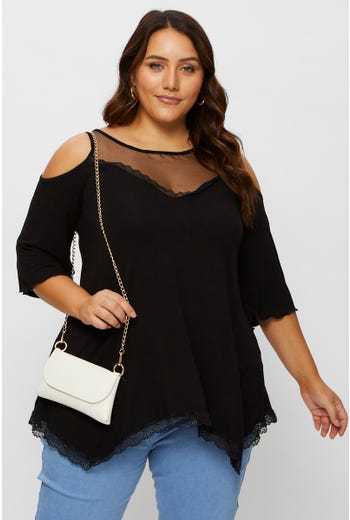Plus Cold Shoulder Lace Top