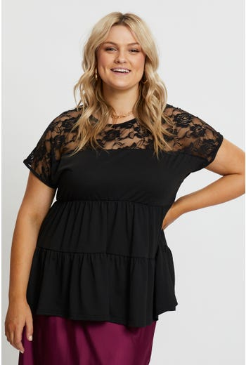 Plus Lace Trim Tiered Babydoll Top
