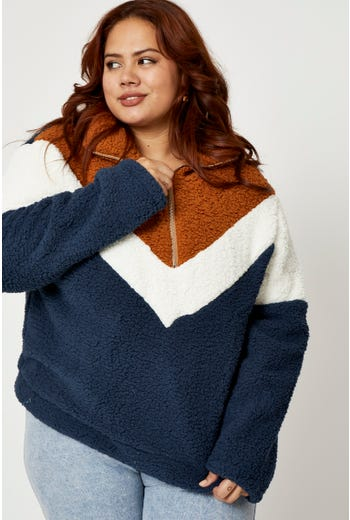Plus Colorblock Zip Up Neck Teddy Sweatshirt