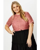 Plus Short Sleeve Lace T shirt With Singlet Top in