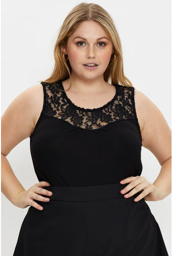 Plus Sleeveless Lace Panel Top
