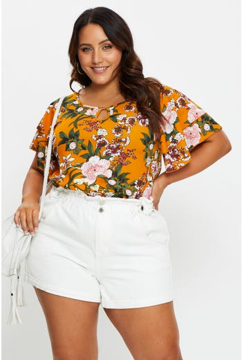 Plus Short Sleeve Jersey Floral Print Keyhole Top