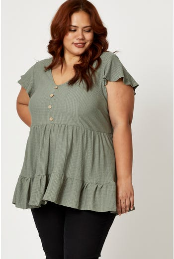 Plus Textured Jersey Button Ruffle Top
