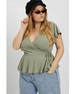 Plus Wrap Front Butterfly Sleeve Top
