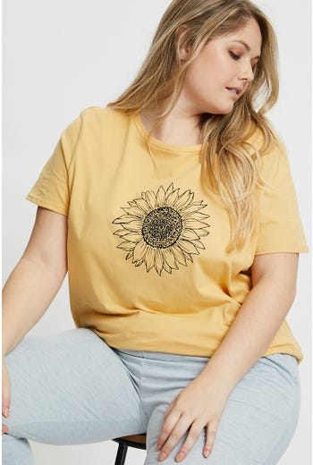 Plus Tee-Boutique Sketchy Sunflower Tee