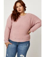 Plus Long Sleeve Round Neck  Knit Top