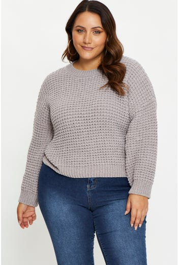Plus Long Sleeve Waffle Knit Round Neck Top