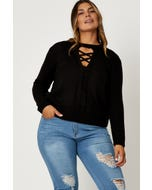 Plus Lace Up Neck Long Sleeve Knit Top