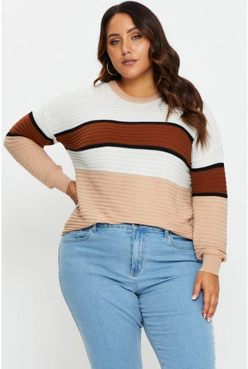 Plus Long Sleeve Round Neck Stripe Knit Top