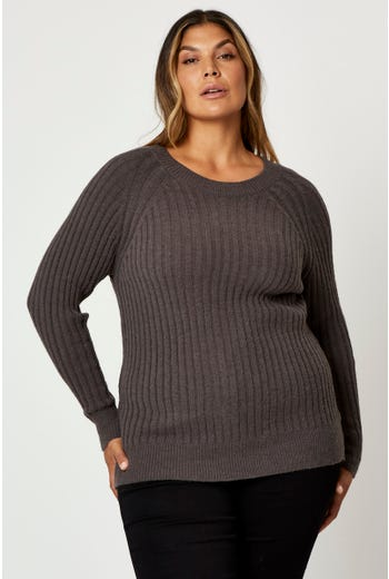 Plus Crew Neck Rib Pullover Sweater