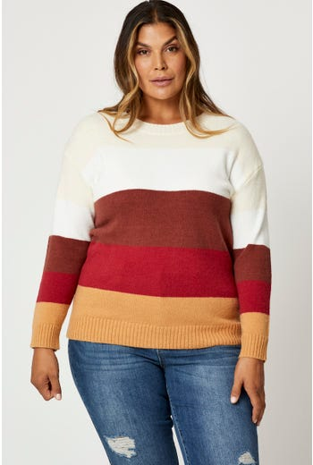 Plus Colorblock Pullover Sweater