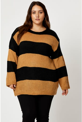 Plus Stripe Loose Fit Pullover Sweater