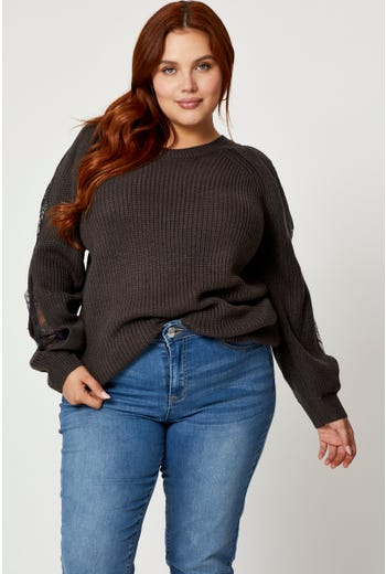 Plus Cut Out Lace Sleeve Pullover Sweater