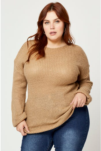 Plus Boatneck Hairy Yarn Pullover Sweater