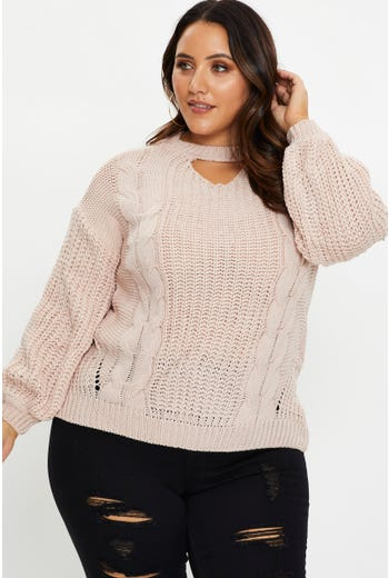 Plus Cut Out Neck Cable Knit Top