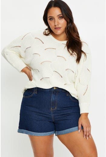 Plus Pointelle Knit Top